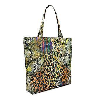 Leopard Print Shopping Bag Beach Canvas Grocery Tote Handbag