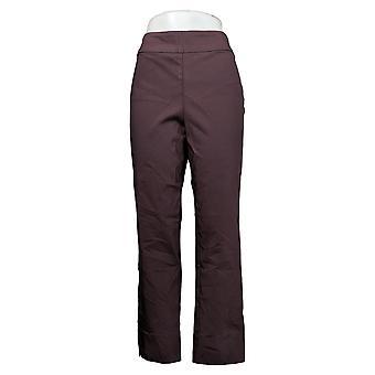 MarlaWynne Women's Pants Stretch Twill FLATTERfit With Slit Brown 646478