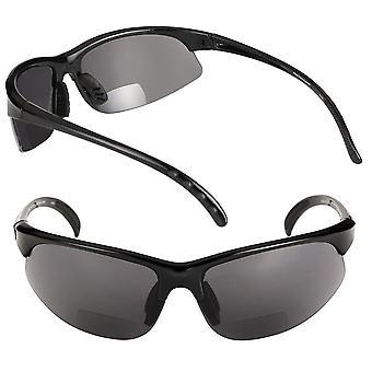 2 Pair of Unisex Bifocal Sport Wrap Sunglasses - Outdoor Reading Sunglasses for Men and Women - Black - 2.25