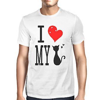 Mäns söt grafisk uttalande T-Shirt - jag älskar min katt vit mössan