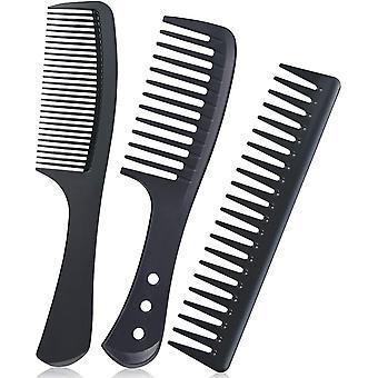 3ks karbonové vlákno hřeben na vlasy Jemný široký hřeben na zuby odmotávání hřebene a tepelně odolný antistatický hřeben pro Salon Home