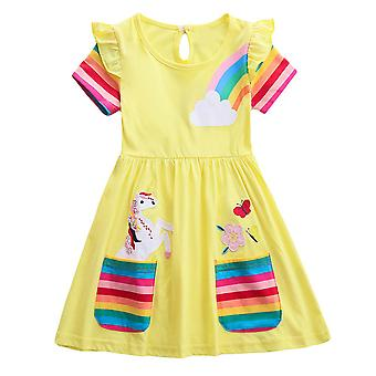 Girls Kids Unicorn Princess Dress Party Summer Casual A-line Dresses