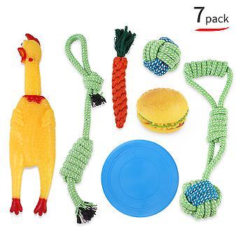 Pet Toy Molar Toy, geschikt voor het reinigen van tanden om gezond te blijven, verveling en decompressie te verlichten (7-delige set)