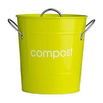 Premier Housewares Metal Compost Bin with Plastic Liner, Lime Green