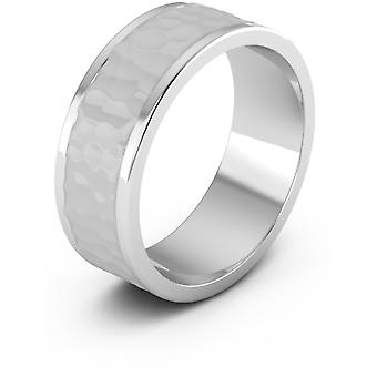 8mm Hammered Wedding Band, 14K White Gold