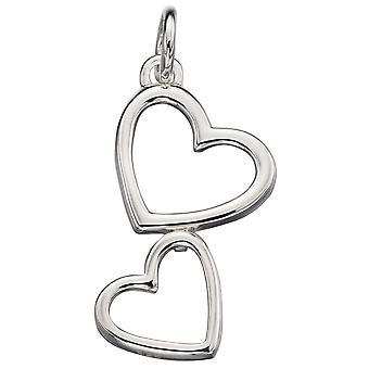 925 zilveren modieuze Twins hart ketting