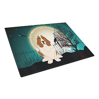 Halloween Scary Basset Hound Glass Cutting Board Large