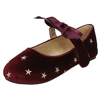 Girls Spot On Star Design Ballerinas - Burgundy Velvet - UK Size 10 - EU Size 28 - US Size 11