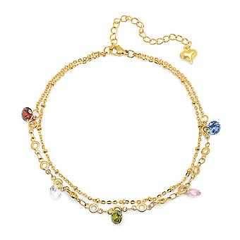 Ladies 18K Gold Plated Simulated Diamond Charm Anklet