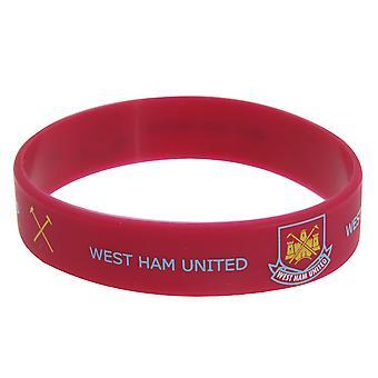 West Ham United FC Resmi Tek Kauçuk Futbol Crest Bileklik