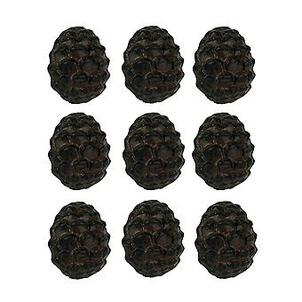 Rustic Brown Woodland Pine Cone 12 Piece Cast Iron Drawer Pull Set