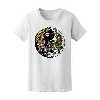 Yin Yang chino tigre & dragón Tee de mujer-imagen de Shutterstock