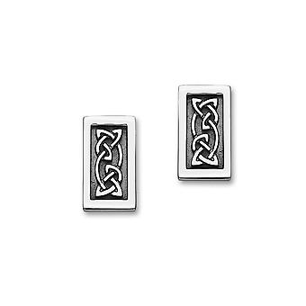 Sterling Silver Traditional Celtic Eternity Knotwork Design Pair of Earrings - E1811