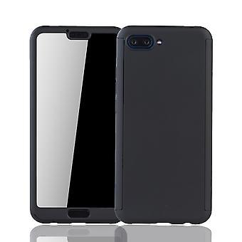 Huawei Honor 10 Handy-Hülle Schutz-Case Full-Cover Panzer Schutz Glas Schwarz