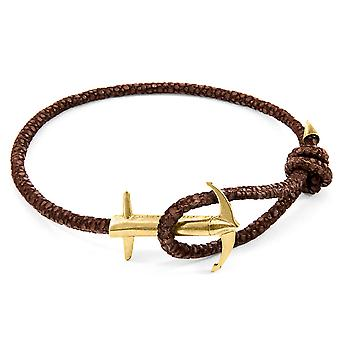 Anchor & Crew Mocha Brown Admiral Anchor 9ct Yellow Gold And Stingray Leather Bracelet