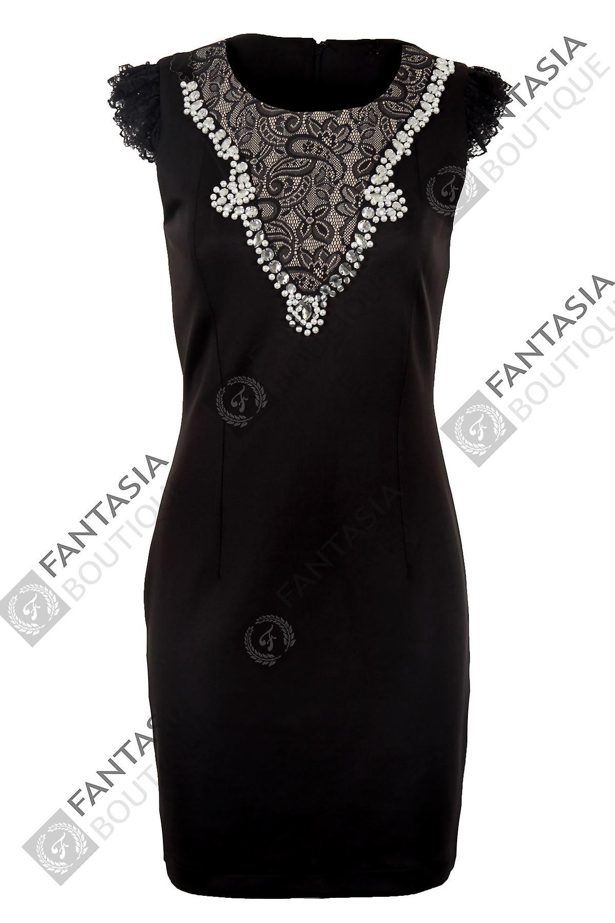 Ladies Cap Sleeve Lace Diamante Pearl Slim Stretch Bodycon Women's Short Dress