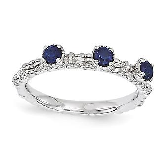 2.5mm 925 Sterling Silver Stackable Expressions Created Sapphire Three Stone Ring Jewelry Gifts for Women - Ring Size: 5