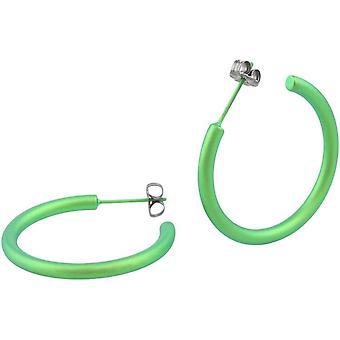 Orecchini a cerchio TI2 titanio 25mm - verde fresco