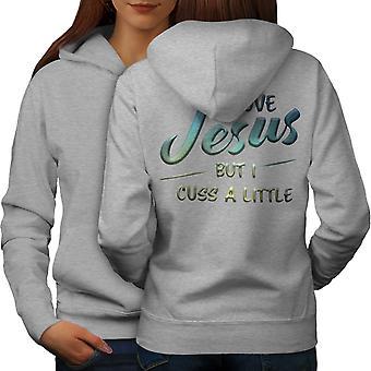 Rakkaus Jeesus Funy Naiset GreyHoodie takaisin | Wellcoda, mitä sinä olet?