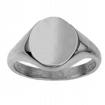 18ct White Gold 14x12mm solid plain oval Signet Ring Size W