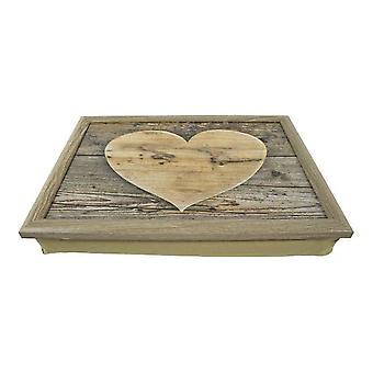 Laptop Cushion Wooden Heart