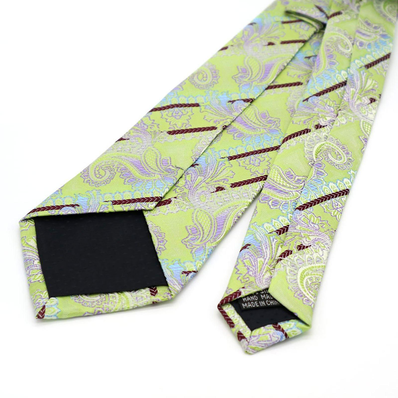 Mint green & purple stripe paisley pocket square & tie