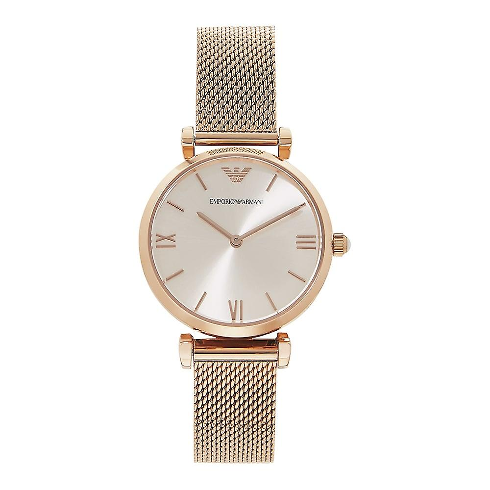 Armani Watches Ar1956 Rose Gold Mesh & Silver Dial Ladies Watch