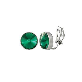 الكنز الأبدي جمع الزمرد الأخضر كريستال الفضة لهجة مشبك على الأقراط