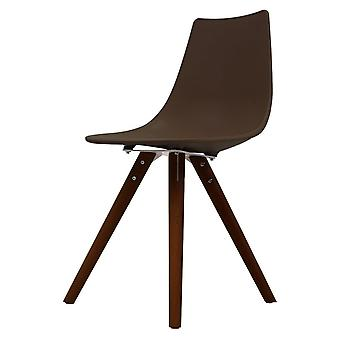 Fusion Living Iconic Coffee Plastic Dining Chair With Dark Wood Legs