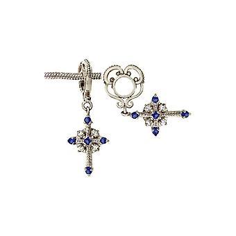 Storywheels Silver & Sapphire Cross oscilar charme S027S