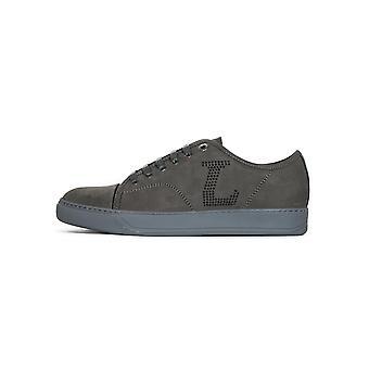 Lanvin Anthracite 'L' Nubuck Toe Cap Sneakers