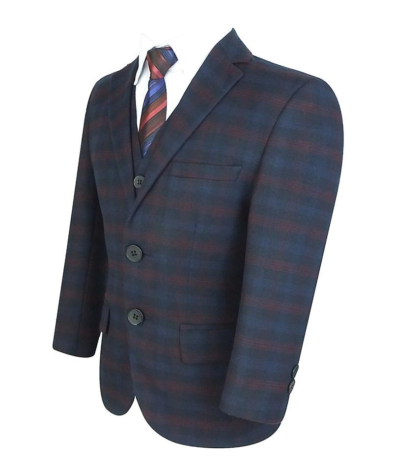 Boys Tailored Fit English Check Suit Navy Blue and Red