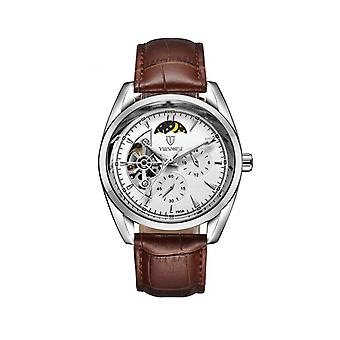 Tevise Mens Homage Automatic Mechanical Watch White Silver Brown Moonphase T795