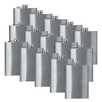 8oz stainless steel hip flask (qty 15) (stainless steel) groomsman wedding gift