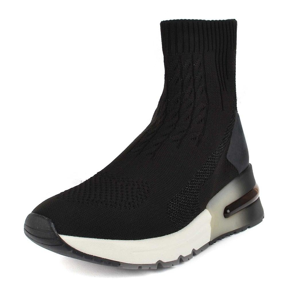 Ash KUTE High Top Trainers Black Stretch Knit