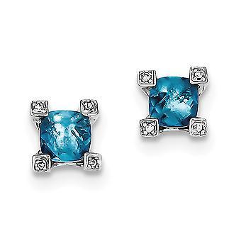 925 plata esterlina pulido postes pendientes azules y claros CZ cúbico Zirconia simulado diamantes pendientes regalos de joyería para