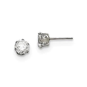 Edelstahl poliert Post Ohrringe 6mm CZ Zirkonia simuliert Diamant Ohrstecker Schmuck Geschenke für Frauen