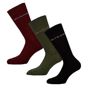 Mens Duck And Cover 3 Pack Bowker Solid Socks In Black Green Red- 1 Pair Black,