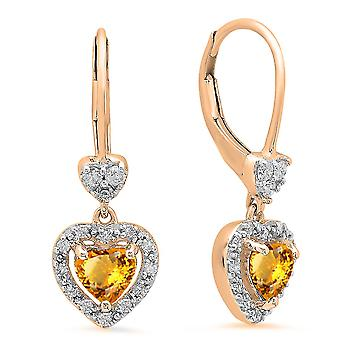 Dazzlingrock Collection 10K Heart Cut Citrine & Round White Diamond Ladies Heart Dangling Drop Earrings, Rose Gold