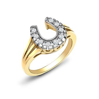 Jewelco London Damen solide 9ct Gelbgold Pave Set Runde H I1 0,15 ct Diamant Lucky Horse Schuh Cocktail Ring 11mm