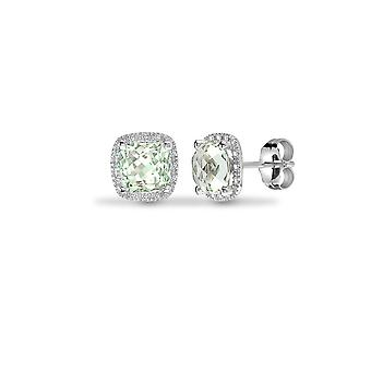 Jewelco London 9ct White Gold Pave Set H I1 0.07ct Diamond and Cushion Green 2ct Amethyst Cushion Halo Stud Boucles d'oreilles