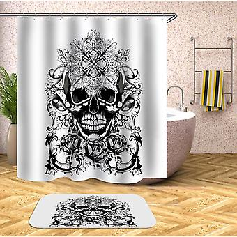 Black And White Oriental Skull Shower Curtain