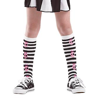 Striped Skull Knee High Costume Tights, L
