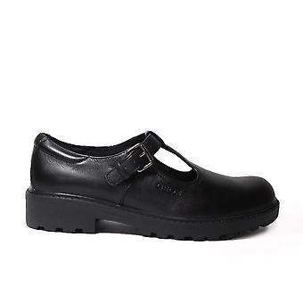 Geox Casey J6420O Black Leather Girls T Bar School Shoes