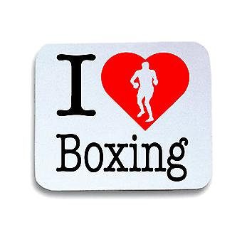 Tappetino mouse pad bianco wtc1665 i love boxing