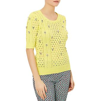 Darling Women-apos;s Lemon Georgie Rhinestone Encrusted Sweater (en elle)