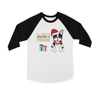 Kerst Frenchie aanwezig cute BKWT Kids honkbal shirt X-Mas aanwezig