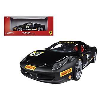 Ferrari 458 Desafío Matt Negro #12 1/18 Diecast Car Modelo Por Hotwheels