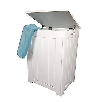 Bac à linge en bois blanc Pendeen, armoire de rangement de salle de bains