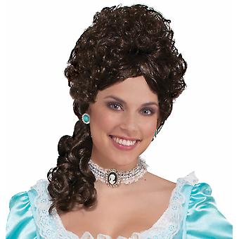 Colonial Lady Belle Victorian 18th Century Olden Day Brown Women Costume Wig
